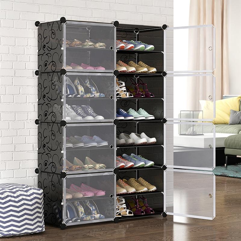 Double Row Shoe Rack Home Dustproof Modular Closet Furniture Shoes