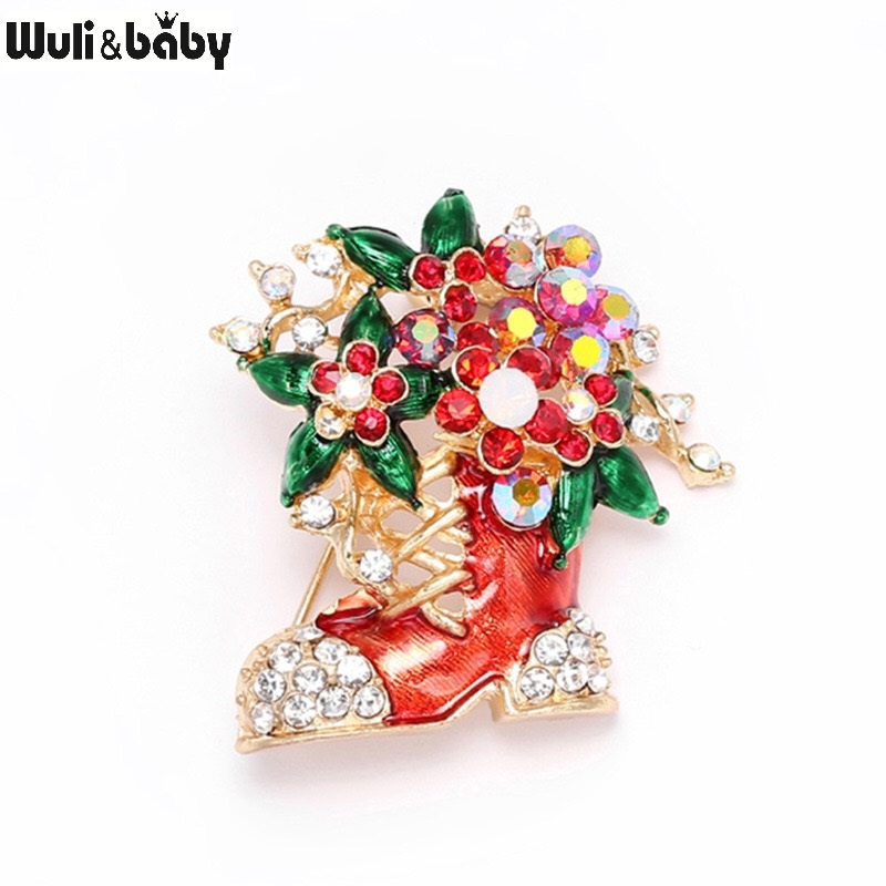 Wuli&baby Classic Enamel Christmas Boots Brooches Women Men Rhinestone Christmas Flower Socks Gifts Brooch Pins