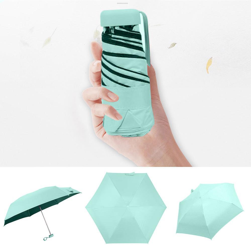 Мини-зонт, женский зонт, 5 раз, плоский светильник, Сумка с карманом и ультра-светильник, зонт, складной солнцезащитный зонтик, зонты Y1 - Цвет: GN