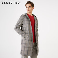 Geselecteerd Mannen Mid-Length Hooded Plaid Trenchcoat S | 4191OM526(China)