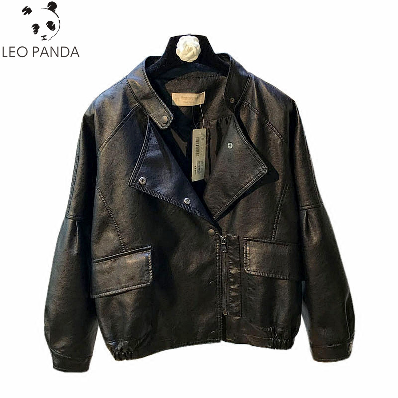 2019 spring autumn new women loose short   leather   female Korean casual pu   leather   motorcycle jacket black jacket are large size