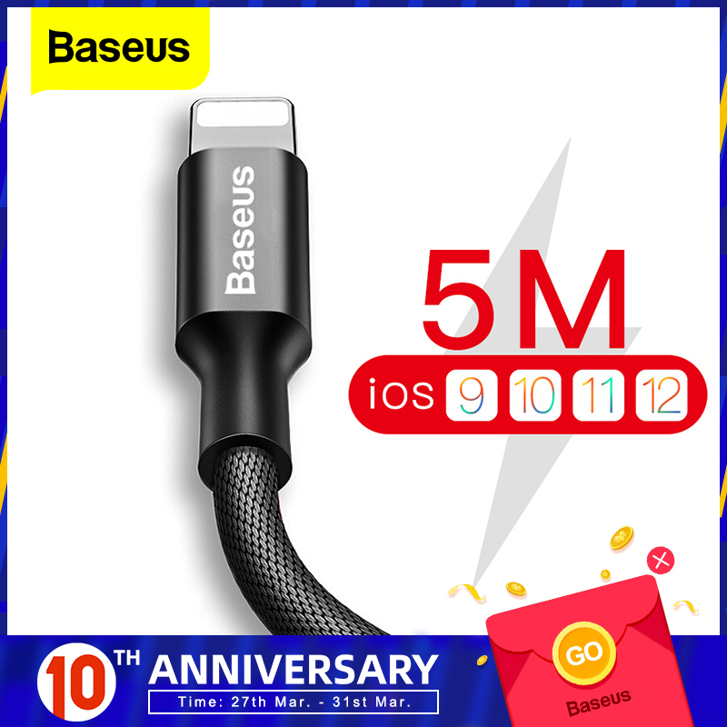 Baseus USB Cable For iPhone XS Max XR Fast Data Charging Charger Cable For iPhone X 8 7 6 6S 5 5S iPad Cord Mobile Phone Cable