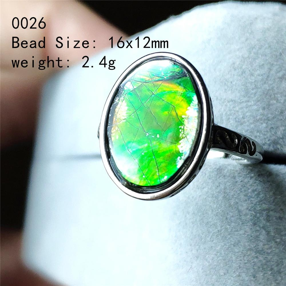 Natural Colorful Ammonite Ammolite Ring Green Red Woman Crystal Love Gift Beads 925 Sterling Silver Fashion Rings AAAAA