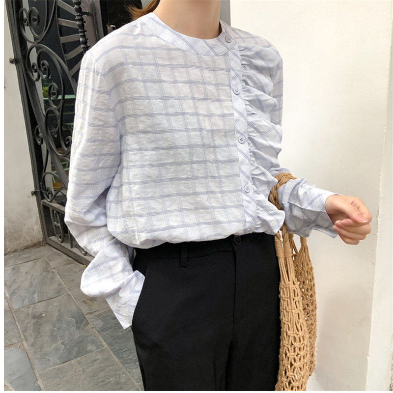 Alien Kitty Spring New Arrival Ruffles Single-Breasted O-Neck Slimming Plaid Fashion Sweet All Match Simple Women Fresh Shirt