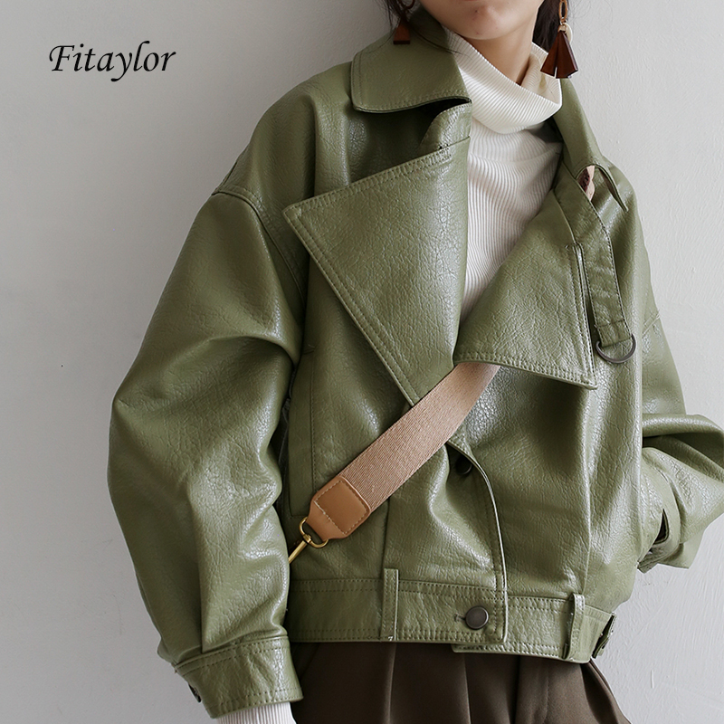 Fitaylor 2020 Loose Pu Leather Batwing Sleeve Vintage Leather Jacket Street Casual Outwear Ladies Biker Leather Coat Multicolor