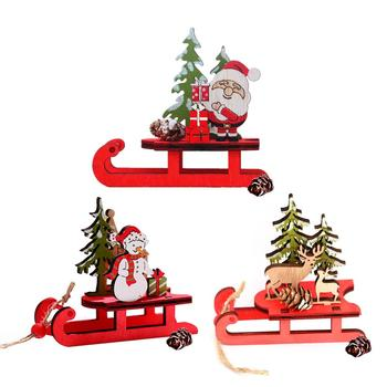Christmas Sleigh Miniature Wooden Santa Snowman Deer Sled Ornament For Children Gift Desktop Small Ornaments Wooden Detachable image