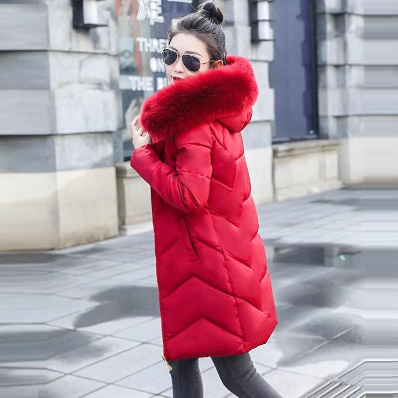 Mulheres Jaqueta de inverno Novo 2019 Com Capuz Falso cabelo de guaxinim colarinho Casaco Feminino Casaco de Inverno preto Grosso de Algodão Acolchoado Senhoras S-6XL