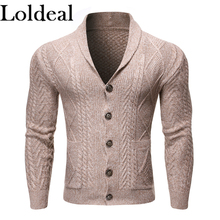 Loldeal Solid Color Long-sleeved Sweater Fashion Casual Lapel Button Cardigan Mixed Cotton Comfortable Knitting