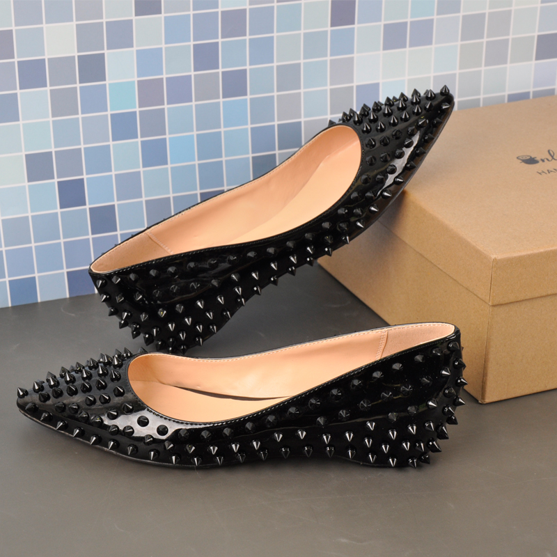 Onlymaker Woman Elegent Pointed Toe Rivet Slip On Black Studded Ballet Flat Fashion  Shoes