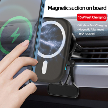 15W Magnetic Wireless Fast Charging Wireless Charger Car Charger Mount Stand For IPhone 12 Pro Mini Max Car Phone Holder image