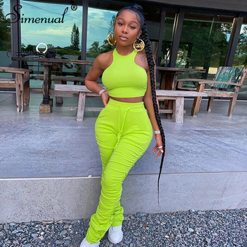 Simenual Crop Top And Stacked Pants Matching Sets Women Casual Workout Sporty Active Wear Bodycon Fashion Two Piece Outfits Slim 1