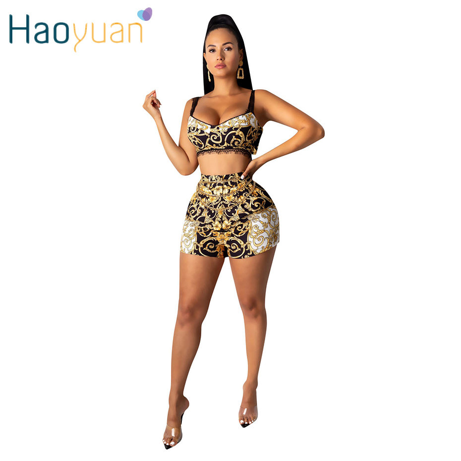 HAOYUAN Two Piece Shorts Set Women Rave Festival Clothing Lace Crop Top+Print Shorts Suit Fall Sexy 2 Piece Outfits Matching Set
