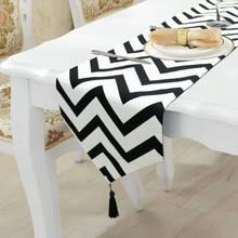 Fashion Modern Table Runner Black/White Striped Printed Linen Cotton Runner Table Cloth With Tassels Table Runner кроссовки levis ny runner tab regular black