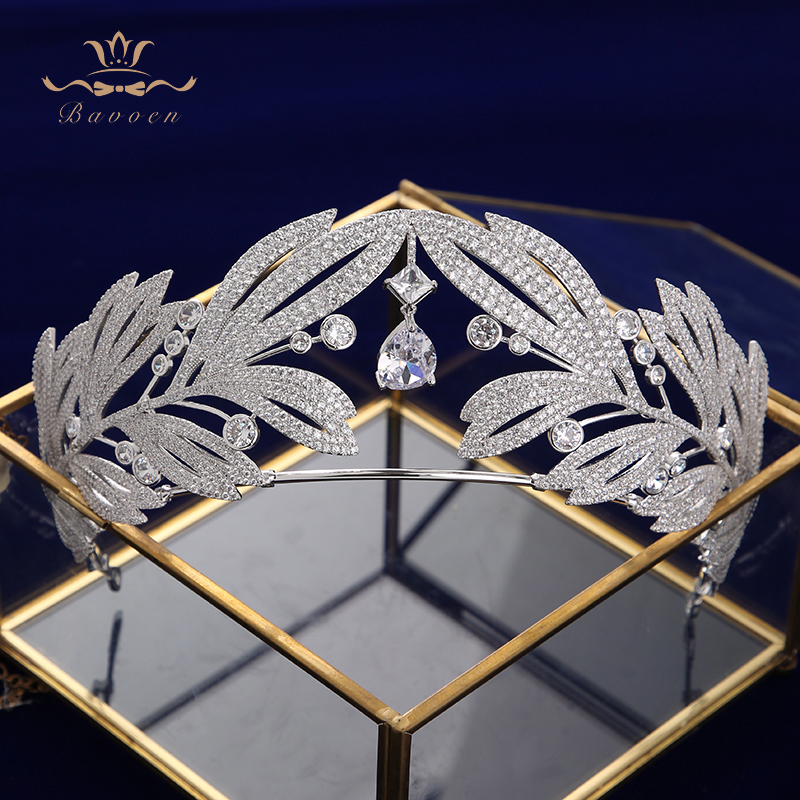 High-quality Sparkling Zircon Crystal Brides Tiaras Crowns Leaves Wedding Accessories Royal Queen Evening Hair Jewelry