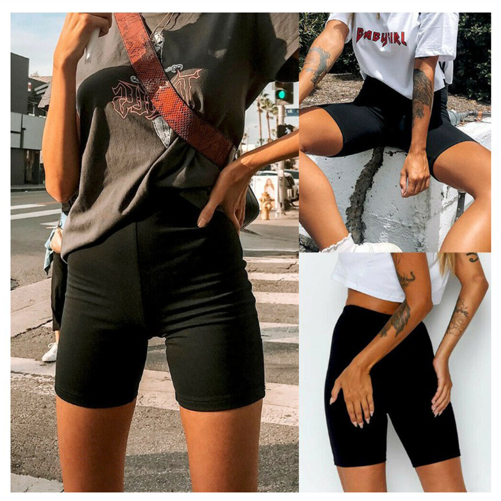 Ladies Outdoor Exercise Plain Active Summer Cycling Shorts Stretch Basic Short Hot Solid Black Soft Wear Shorts For Women Female
