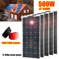 500W 5*100W Mono Flexible Solar Panel Kit for 12V Power Battery Home/RV/Car/Boat Charge System 10M/20M Cables Optional