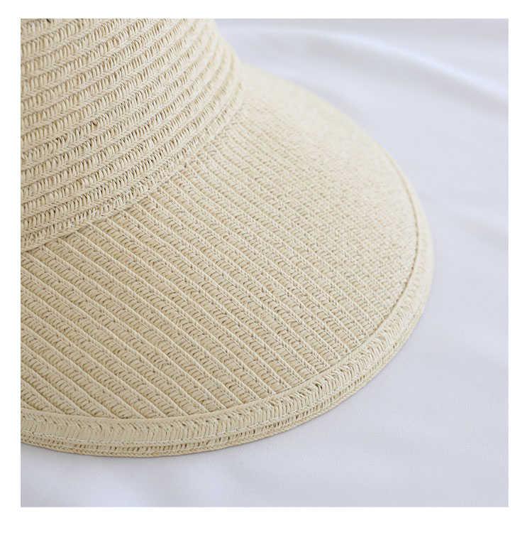 새로운 간단한 여름 짚 태양 모자 여성 큰 머리와 함께 다시 태양 바이저 모자 넓은 가장자리 자외선 보호 여성 모자