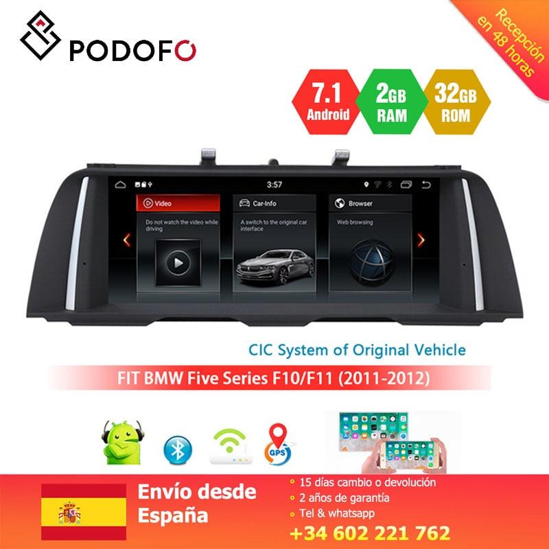 Lecteur multimédia de voiture Podofo Android 7.1 pour BMW série 5 F10/F11 (2011-2012) support de système CIC lien de miroir Bluetooth