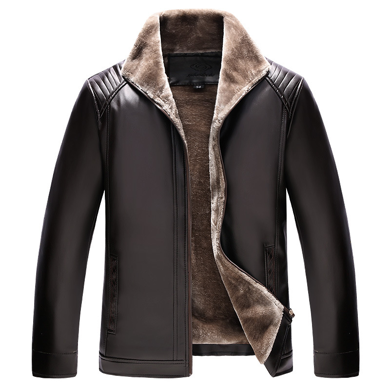 New Style MEN'S Leather Coat Brushed And Thick Fur Leather Coat Zipper Fold-down Collar Leather Jacket Warm Daddy Clothes Pu