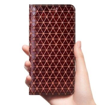 Grid Genuine Leather Flip Case For Huawei Y5 Y6 Y6S Y7 Y9 Y9S Y5P Y6P Y7P Y8P Prime 2017 2018 2019 2020 Phone Cover Cases