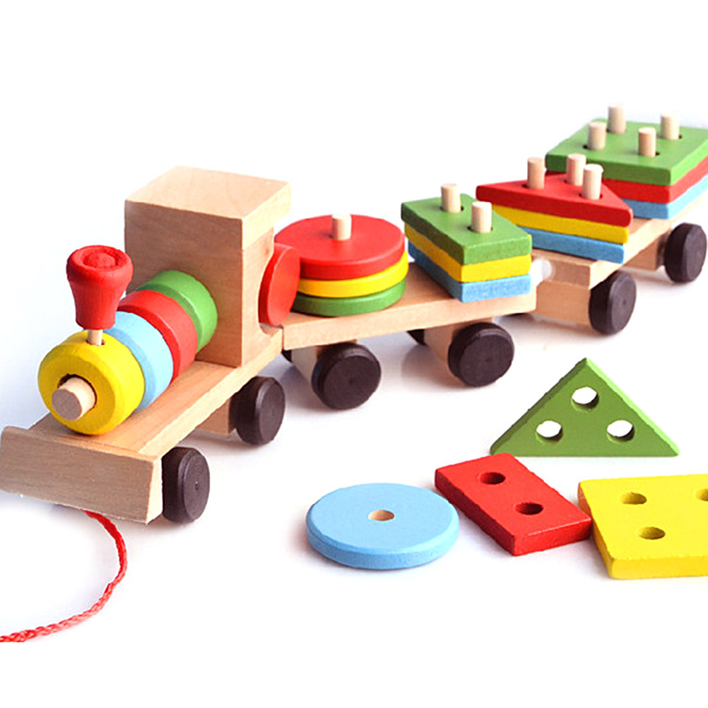 Wooden Stacking Toys Train Shape Sorter Stacking Blocks Toddlers Puzzle Toys Pull Toys For Toddlers Preschool Educational Toy#20