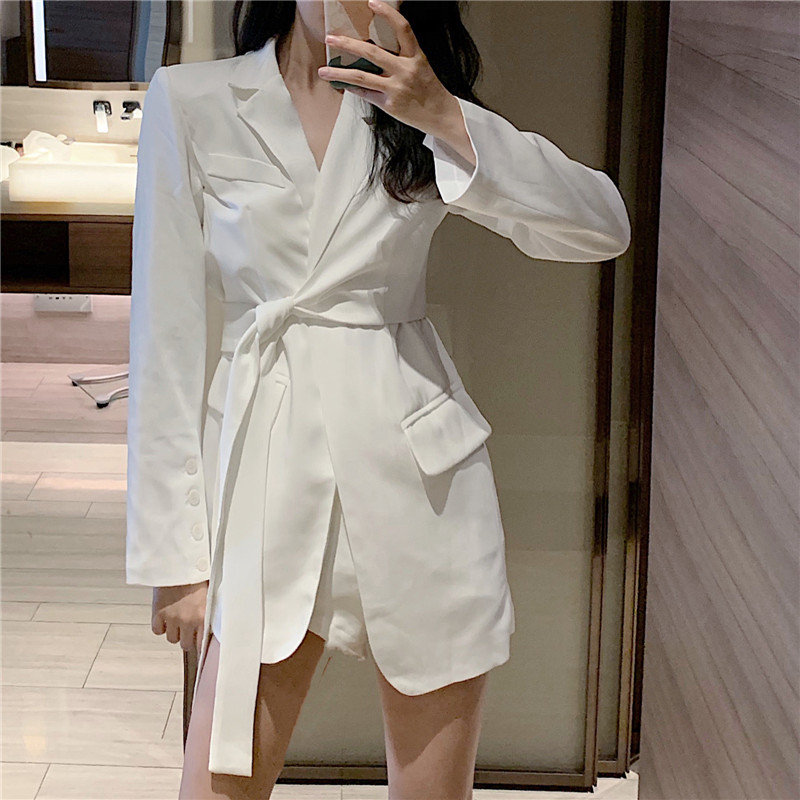 HziriP 2019 New White OL Women Elegant Office Ladies Lace Up Gentle Large Size Fresh Autumn Solid All-Match Slender Chic Blazers