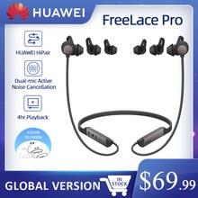 Huawei freelace pro fones de ouvido sem fio, genuíno duplo-microfone cancelamento de ruído ativo bluetooth in-ear fones de ouvido, 24 horas