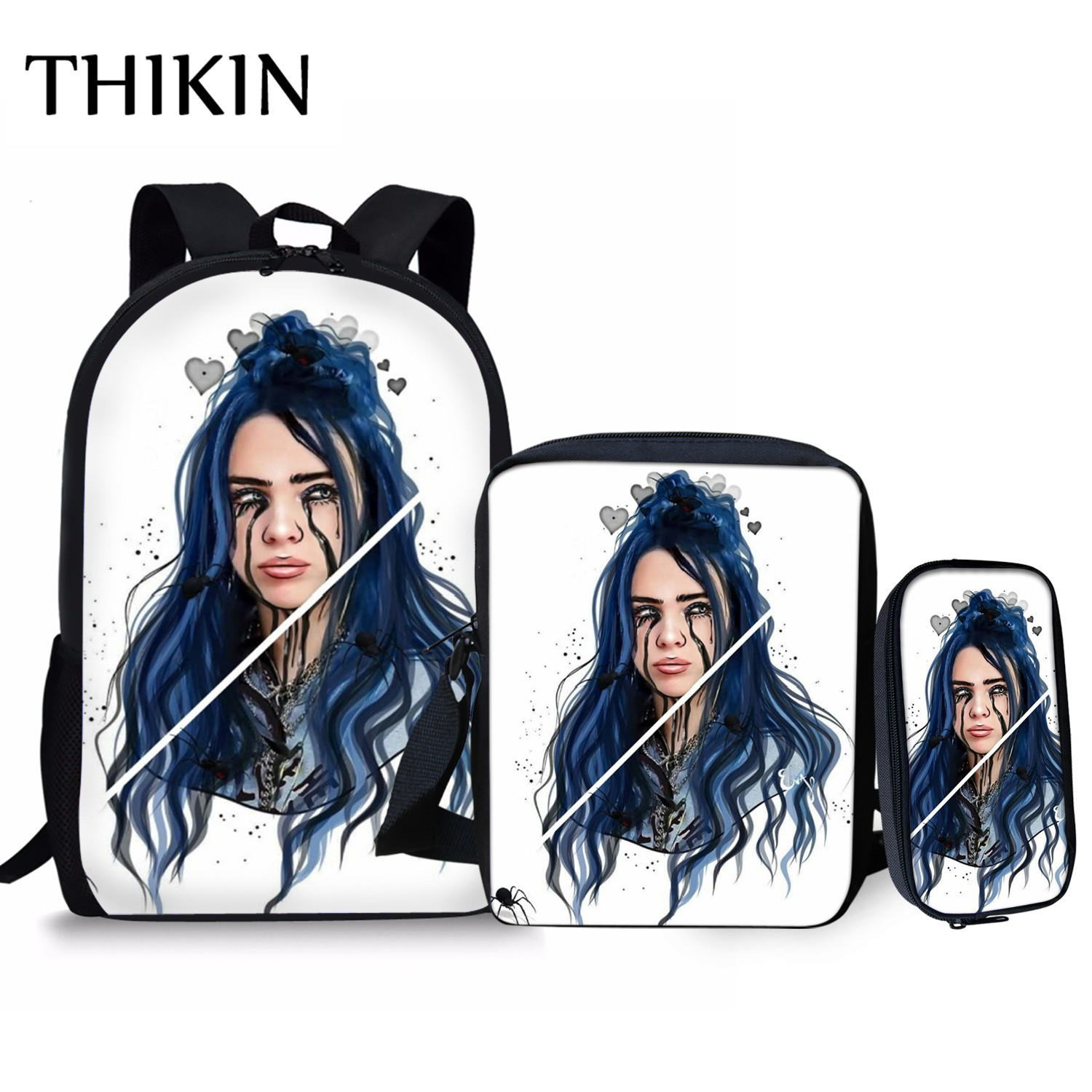 THIKIN Rapper Billie Eilish Women Backpack Teenager Girls Hip Hop School Bag Women Bad Guy Travel Capacity Bag Student Mochila