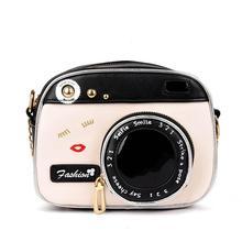 Feminino vintage forma de câmera pequena bonito chique longo bolsa de ombro bolsa mensageiro