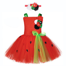 Cute Girls Halloween Watermelon Costume Baby Girl Summer Clothes Kids Flower Bow Party Tutu Dress with Black Dots