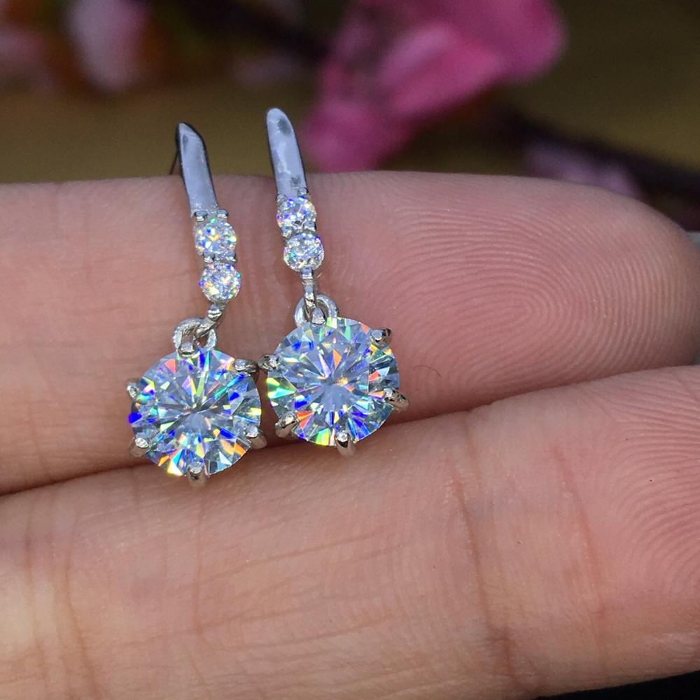 Поэтический еврей магазин Круглый Муассанит вырезанный всего 1.60ct Алмазный тест прошел моассанит серебряные серьги гвоздики