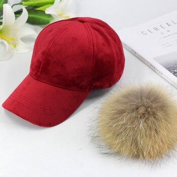 New brand baseball caps 2020 winter cap for women Real fur pompom ball cap Adjustable Casual Snapback hat cap 4