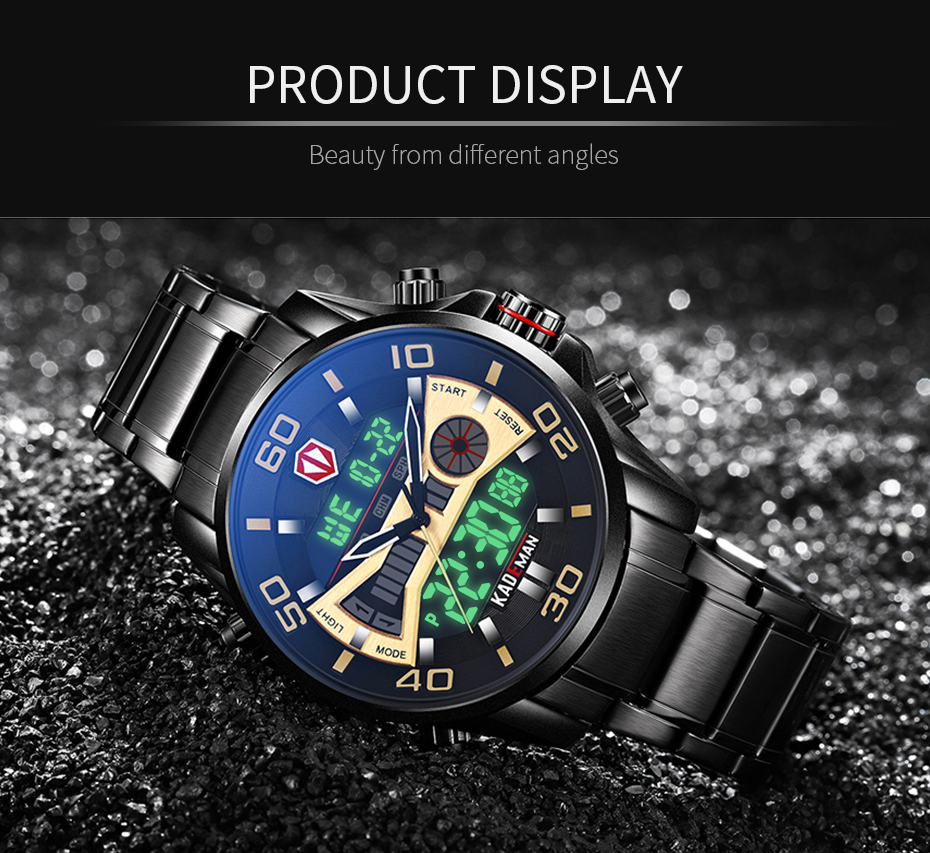 IsMyStore: KADEMAN Fashion Sport Watch Men Quartz LCD Digital Mens Watches Top Brand Luxury Waterproof Army Military Full Steel Wristwatch