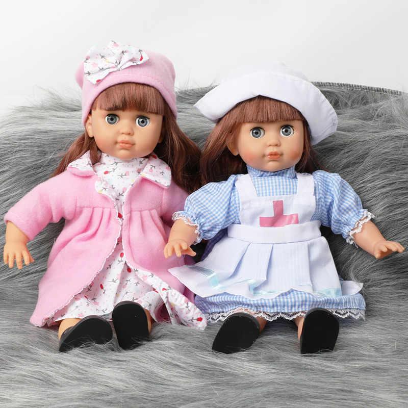 14 inch Bebe reborn Doll toys 긴 머리 아기 36cm 부드러운 실리콘 시뮬레이션 사운드 패션 실물 드레스 인형 장난감 소녀 선물
