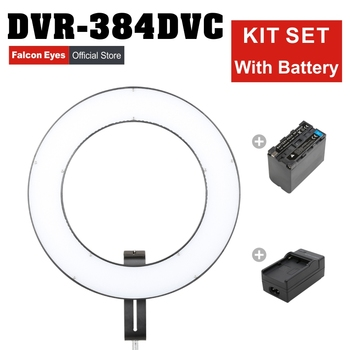 FalconEyes 23W Ring Beauty LED Panel Photography Lamp 3000-5600K Dimmable Makeup Video Studio Continuous Lighting DVR-384DVC Set