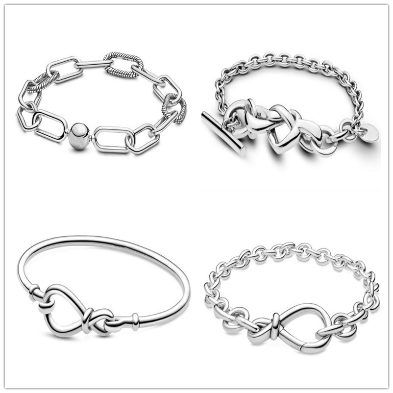 925 Silver <font><b>Bracelet</b></font> Knotted Heart Heart-embellished T-clasp Link Bangle Fit Women Bead <font><b>Charm</b></font> <font><b>Pan</b></font> <font><b>Bracelets</b></font> Fashion Jewelry image