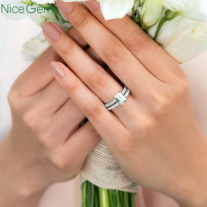 Image 5 - 14 585 ホワイトゴールド 0.25 ctw 薄型フランスパヴェセットモアッサナイトの結婚指輪ハーフ永遠と 20 個モアッサナイト石ウェディングバンド