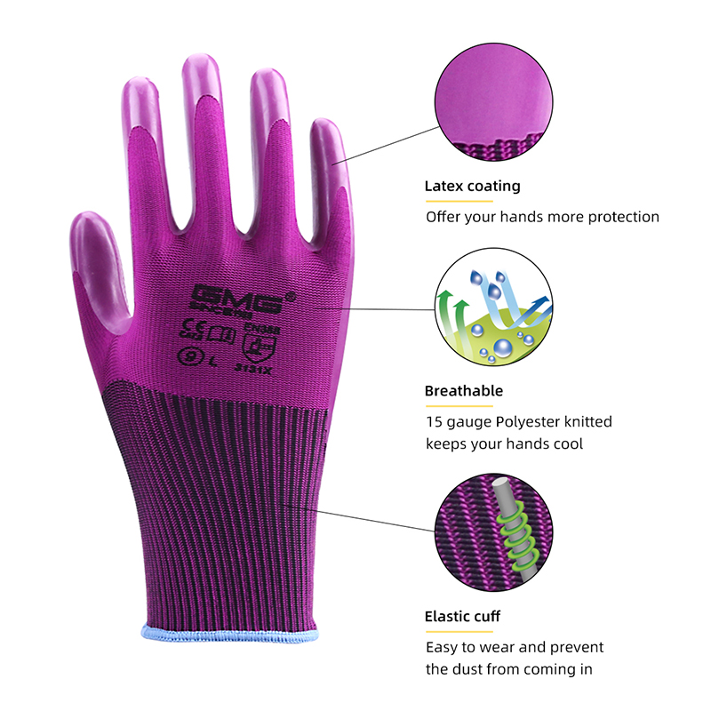 Hot Sale Durable Nature Latex Gloves 3 Pairs GMG Good Grip Non-slip Gloves Work Safety Gloves Protective Gloves Work Women