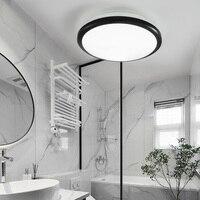 Zerouno-Lámpara LED de techo moderna para baño, luz redonda impermeable para lavabo, inodoro, sensor de movimiento de 30W, interior del hogar, color negro brillante
