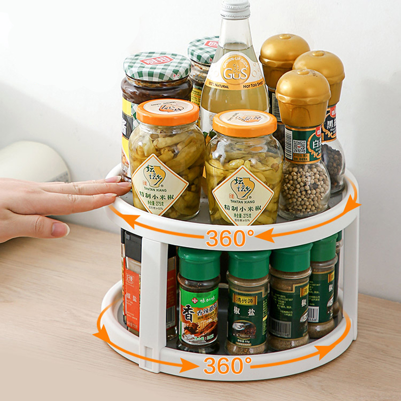 360° Rotating Seasoning Storage Rack 2 Layer Spice Salt Jars Tray Kitchen Space Saving Organizer Shelf Household Supplies Holder