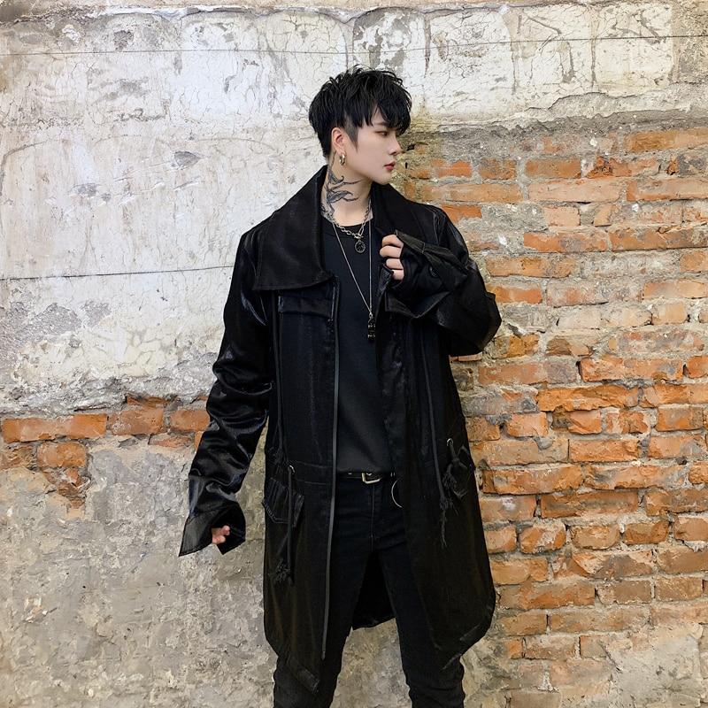 Men Autumn New Streetwear Hip Hop Loose Casual Long Jacket Windbreaker Overcoat Male Drawstring   Trench   Coat