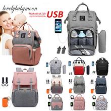 Moda mumia duża pojemność torba na pieluchy plecak wodoodporna torba macierzyńska torby na pieluchy dla niemowląt USB Design mumia wózek podróżny torba tanie tanio CN (pochodzenie) Poliester zipper