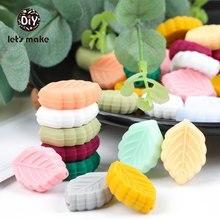 Let's make, 5 perles en Silicone, feuilles de dessin animé, bricolage, collier sucette chaîne, qualité alimentaire, pour bébé