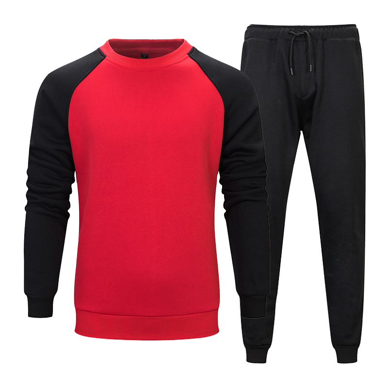 Men's Autumn And Winter Sports Hoodie Two-Piece Set Pullover Crew Neck Contrast Color Hoodie Solid Color Loose Casual Gymnastic