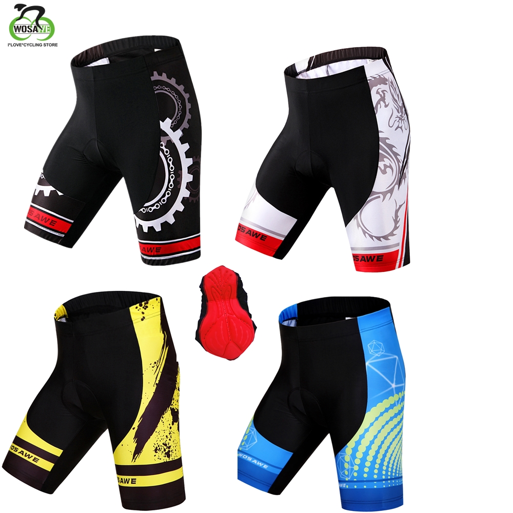 WOSAWE Cycling Shorts Men Tight Anti-Slip Bicycle 3D Gel Padded Ciclismo Mujer MTB Shorts Downhill Riding Mountain Bike Shorts