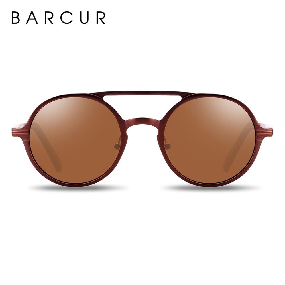 BARCUR Hot Black Goggle Male Round Sunglasses Luxury Brand Men Glasses Retro Vintage Women Sun glasses UV400 Retro Style 12