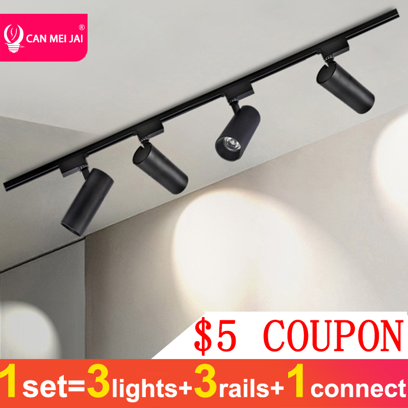 Led Track Light 220V COB Track Lamp 12W 20W 30W 40W Spot Lights Led Lamp Aluminum Track Rail Lighting For Home Store Spotlight