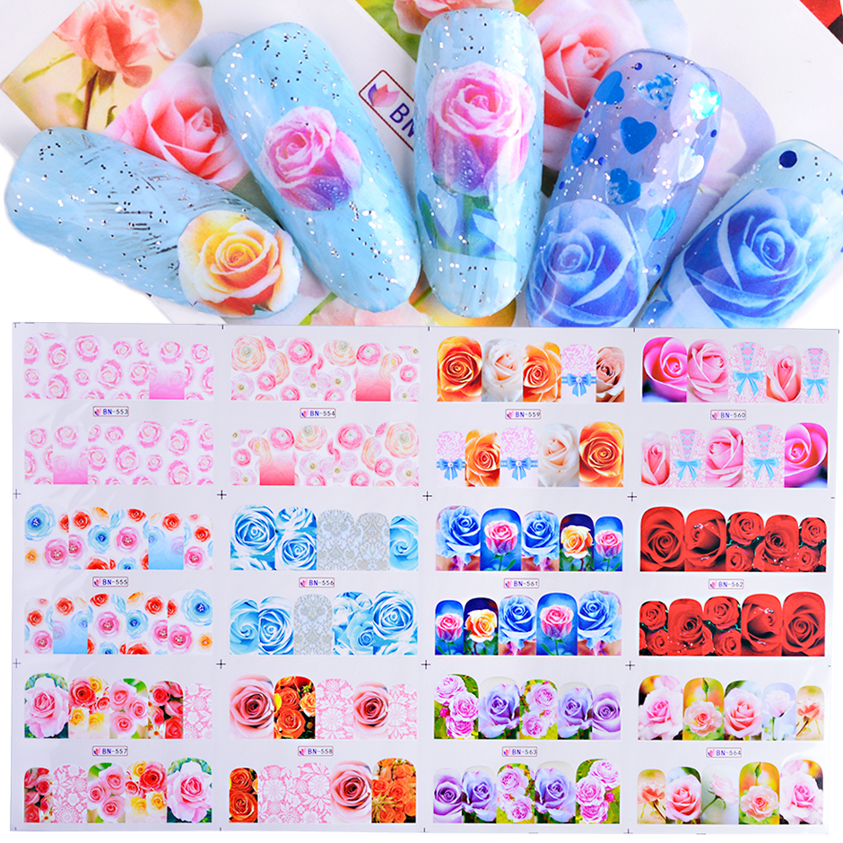 12pcs Valentines Manicure Love Letter Flower Sliders for Nails Inscriptions Nail Art Decoration Water Sticker Tips GLBN1489-1500 24
