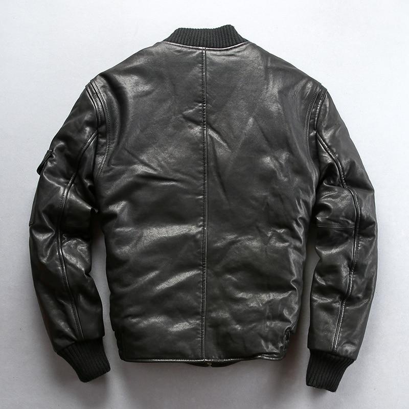 2020 Men's Winter Down Stand Collar Sheepskin Genuine Jacket Men Safary Style Hunter Real Leather Coat Male