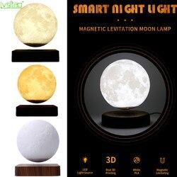 3D magnetyczna lewitująca lampa księżycowa lampka nocna 15cm obrotowa bezprzewodowa ledowa lampa księżyc pływająca lampa nowości na prezent dekoracje domu w Błyszczące oświetlenie od Lampy i oświetlenie na